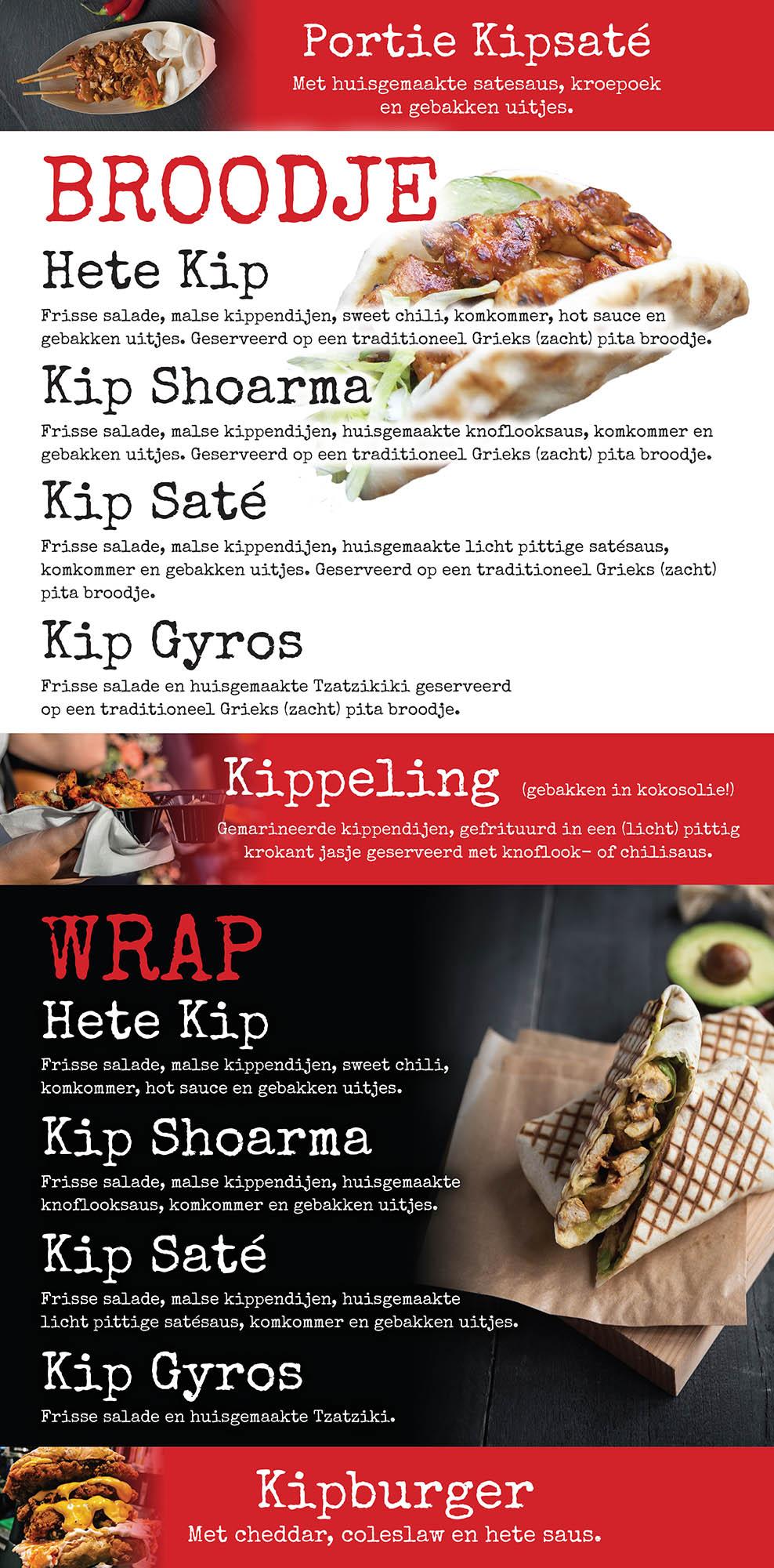 menukaart foodtruck kip dollys